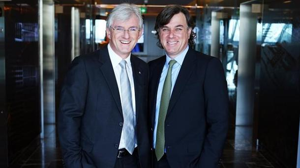 Stephen and Peter Lowy in the Westfield offices yesterday. Picture: Sam Mooy Source: News Corp Australia